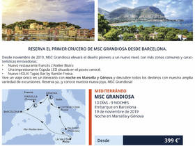 CRUCERO INAUGURAL MSC GRANDIOSA DESDE BARCELONA